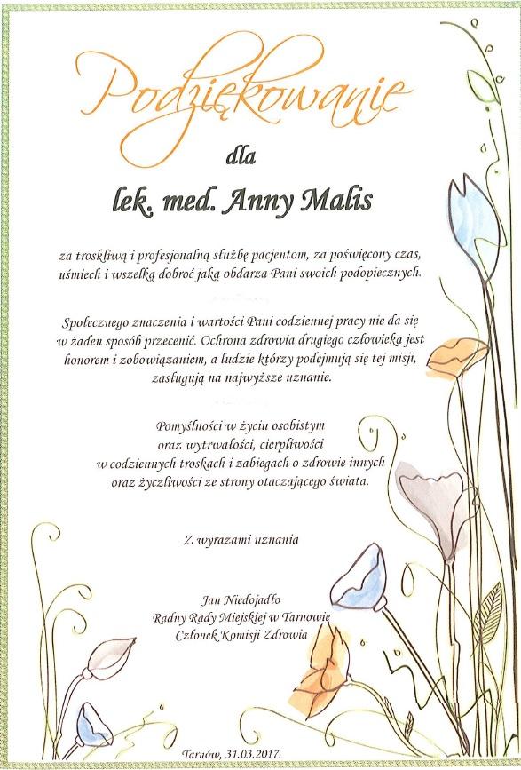 Wyrazy uznania dla lek. med. Anny Malis