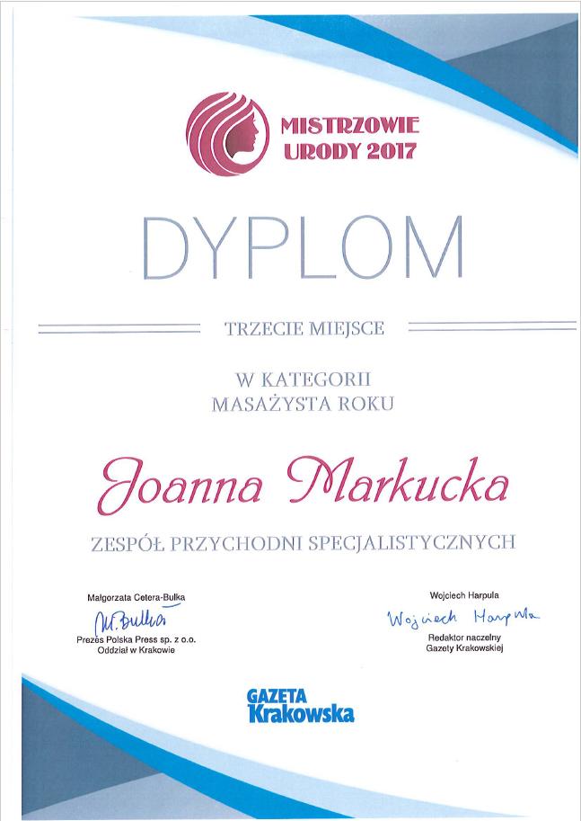 Joanna Markucka nagrodzona w kategorii Masażysta Roku