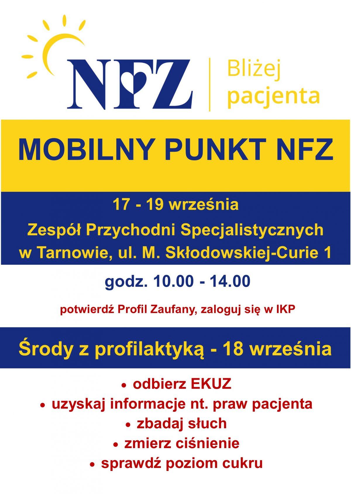 Mobilny Punkt NFZ - 17-19 września 2019